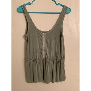 Olive-green American Eagle corset-front tank top